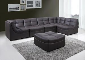 Details about Modern Design Bonded Leather 6pc Cloud Modular Brown  Sectional Sofa Couch Living