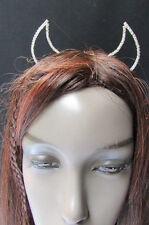 New Women Head Band Silver Rhinestones Metal Small Devil Ears Trendy Halloween