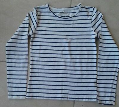 Intellective Haut Fille Pull Polo Tee Shirt Manches Longues 12 Ans Marinière
