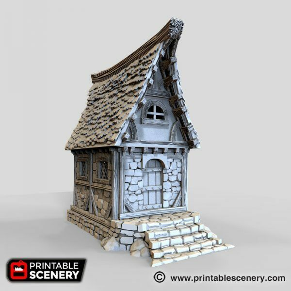 Small Cottage 28mm Tabletop Games Dwarven Forge D&D Terrain Printable Scenery