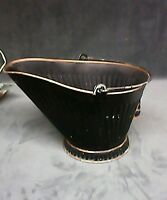 Fireplace Coal Hod Metal Bucket Black Powder Finish Everyday Hearth Use Accessor