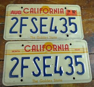 1992 Set of 2 License Tags California Metal License Plates CA The Golden State