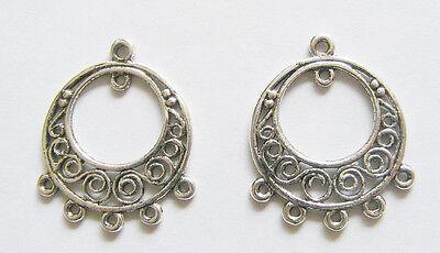 6 Antique silver earring findings