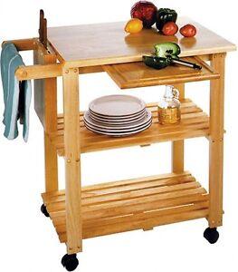 Butcher Block Island Cart Table Kitchen Rack Cutting Board Shelf Rolling Stand A eBay