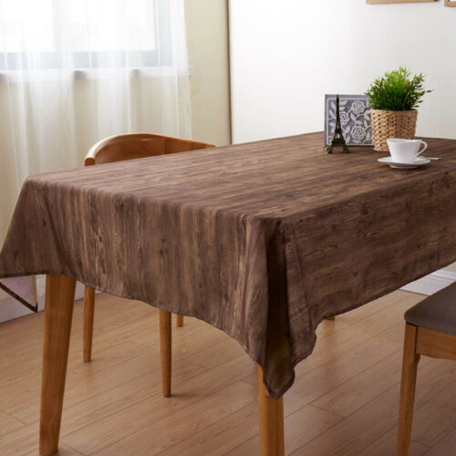 Washable Stain Resistant Table Cloth Cover Brown Wooden Plank Rustic Wood Effect