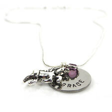 Childs Personalised Name Necklace with Unicorn and Birthstone - Gift Boxed