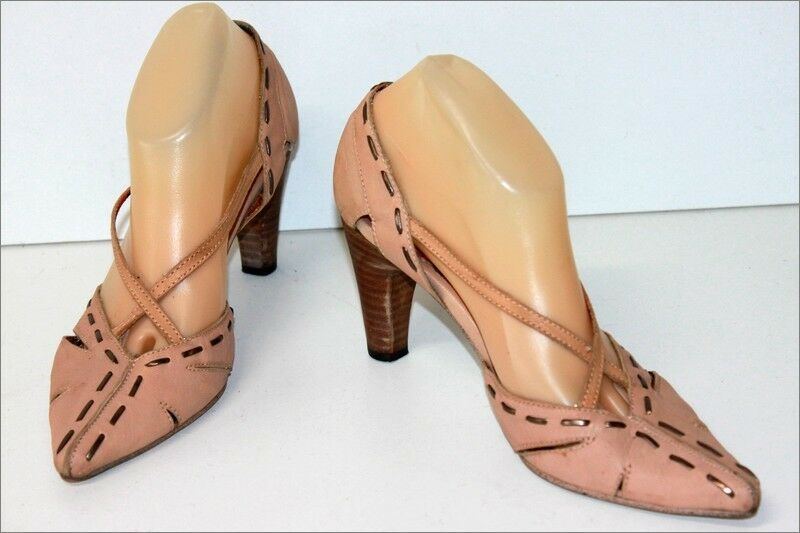 BL Court shoes Sharp  pointed heels Leather Tulle netting Beige Pink T 39