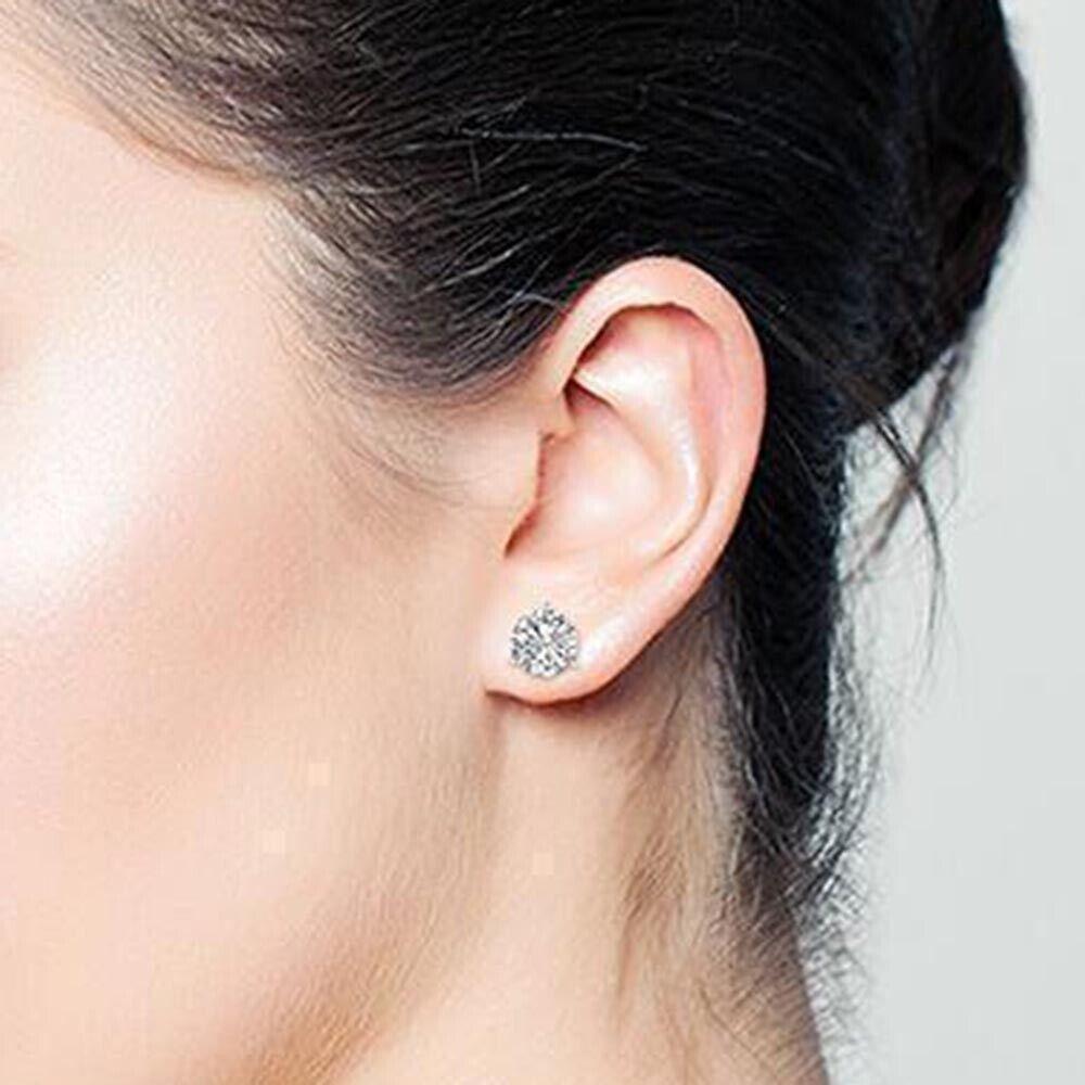 0.50 Carat Martini Real Diamond Studs 14K White gold Engagement Womens Earrings