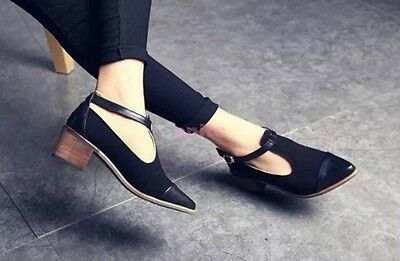 Korean Sexy Ladies Cut Out Ankle Strap Pointy Toe Oxfords Mid Heels Shoes Pumps