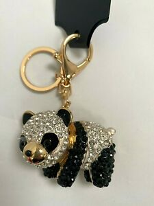 Cute Panda Diamante Keyring Rhinestone handbag charm gift  NEW bear