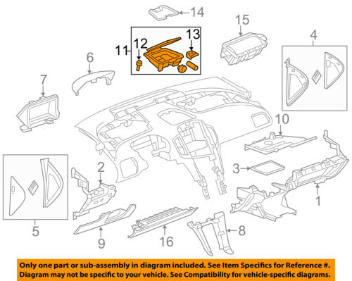 Chevrolet GM OEM 13-15 Volt Instrument Panel Dash-Compartment 22834214