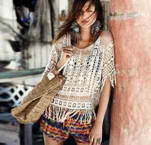 Crochet Lace Kaftan Blouse Ethnic Beach Festival Boho Hippy Top Cover Up Tassel
