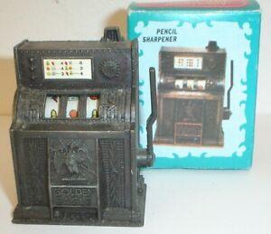 Vintage Die-Cast Metal Figural Slot Machine Pencil Sharpener w/ Box No.9615