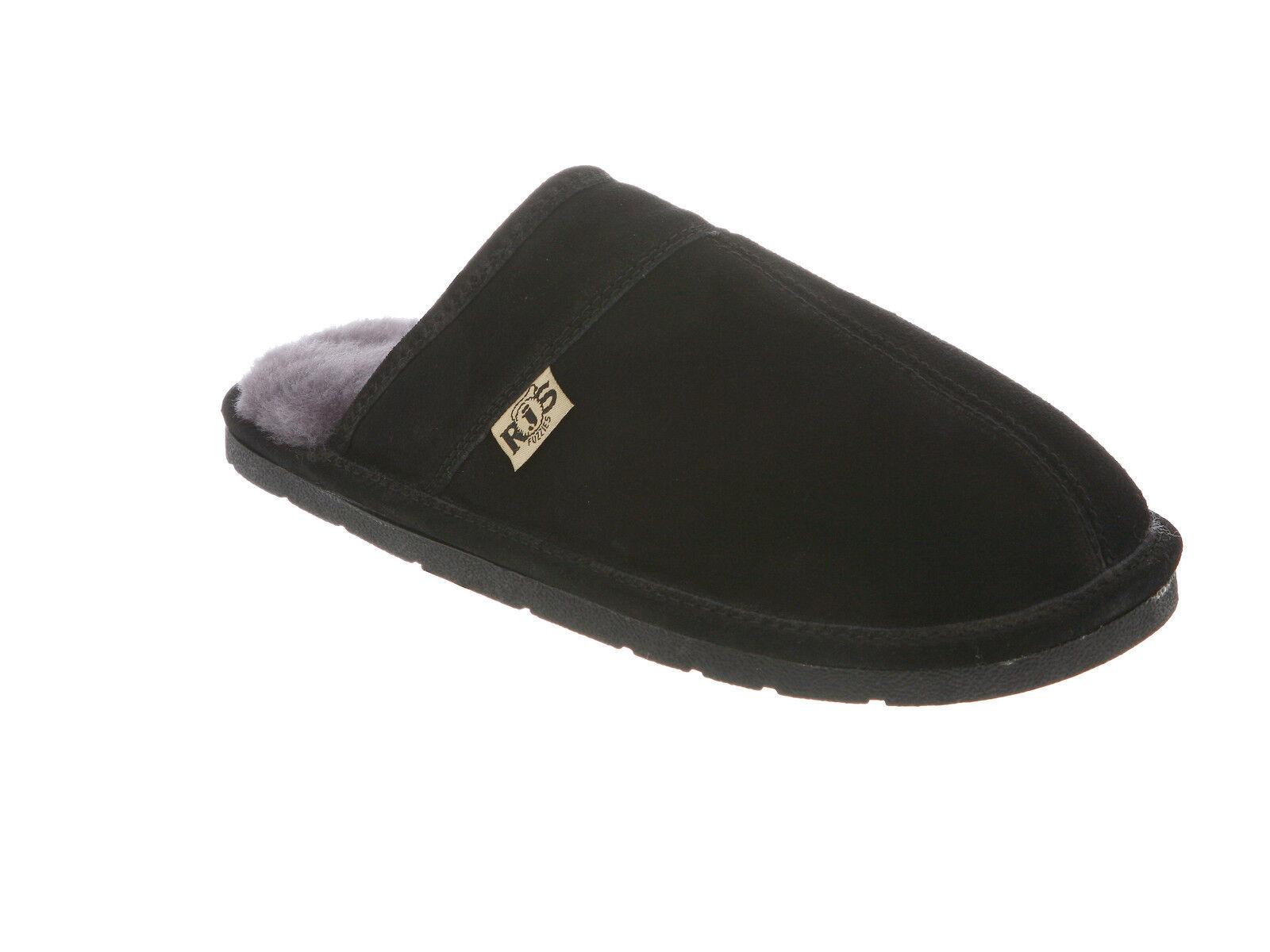 Rj'S Genuine Sheepskin Men's Scuff Slip-on Slide Slippers Black Medium (D, M)