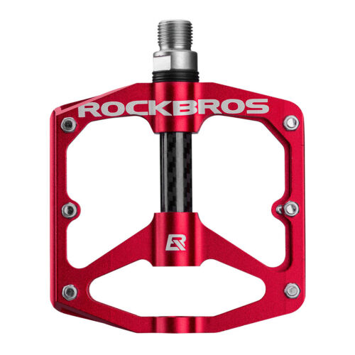 RockBros Bicycle Pedals Road Bike MTB Carbon Fiber Sealed Bearings Pedals Red