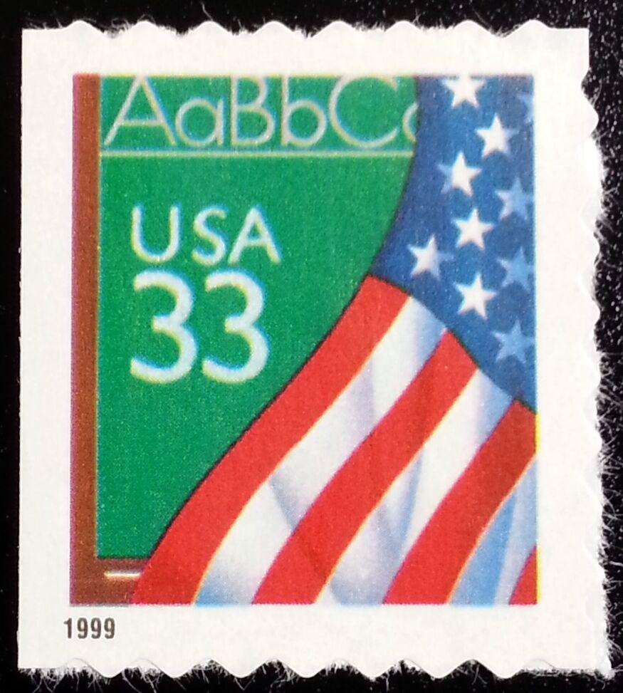 1999 33c Flag Over Chalkboard, SA Scott 3283 Mint F/VF