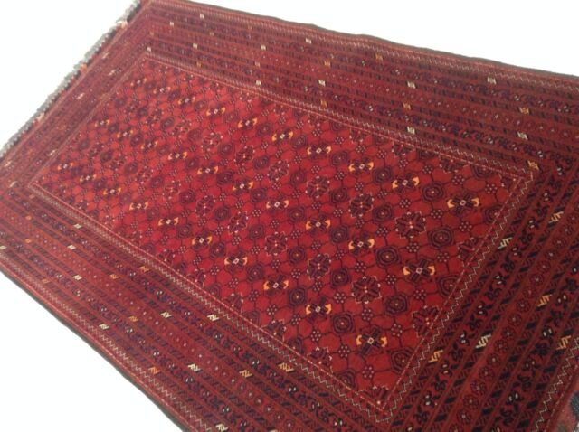"3'.7"" X 6'.0"" Red Kunduz Persian Oriental Area Rug Hand Knotted Wool KPSI 250"