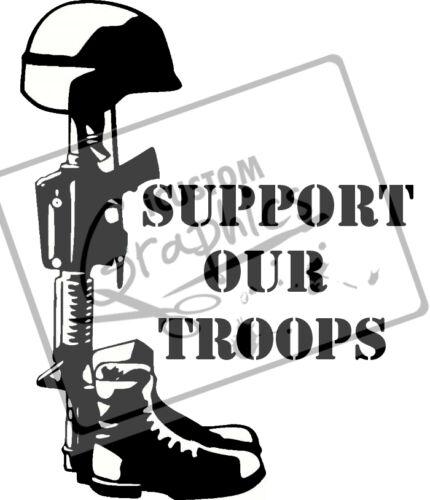 Armée de soutenir nos troupes voiture vinyle autocollant en mémoire de graphique Lest We Forget