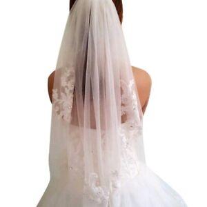 Wedding-Veils-Bridal-Veils-Short-One-Layered-Waist-Length-Beaded-Diamond-Ap-A3J5