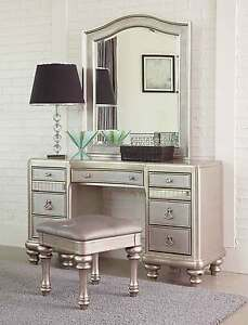 Image Is Loading Glitzy Glamorous Platinum Mirrored Vanity Dressing Table Bedroom