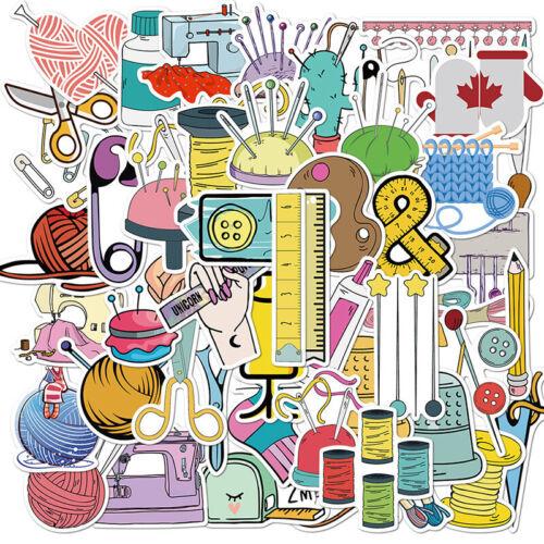 50 PCS Cartoon Sewing machine Waterproof Sticker DIY Suitcase Graffiti Stic A8A