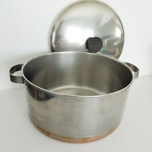 Revere-Ware-Stainless-Steel-4-5-Quart-Stock-Pot-Dutch-Copper-Clad-Bottom-and-Lid