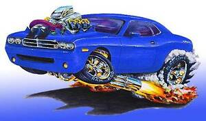 Dodge Challenger Srt8 Muscle Car Cartoon Art Print New Ebay