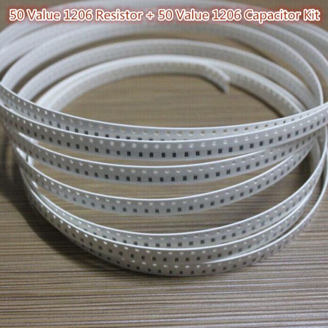 2500PCS 1206 SMD SMT 50 Value Resistor + 1000PCS 50 Value 1206 Capacitor Kit