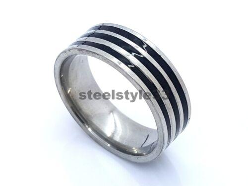 RING BAND STAINLESS STEEL 316L BLACK/&SILVER STRIPES 8MM MEN/'S WOMEN/'S DESIGN