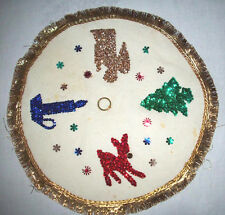Vintage Christmas felt table decor Beading sequin reindeer angel tree candle