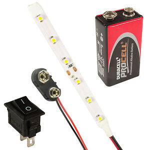 Scalextric-LED-Strip-Lights-Switch-PP3-Battery-All-Colours-amp-Lengths