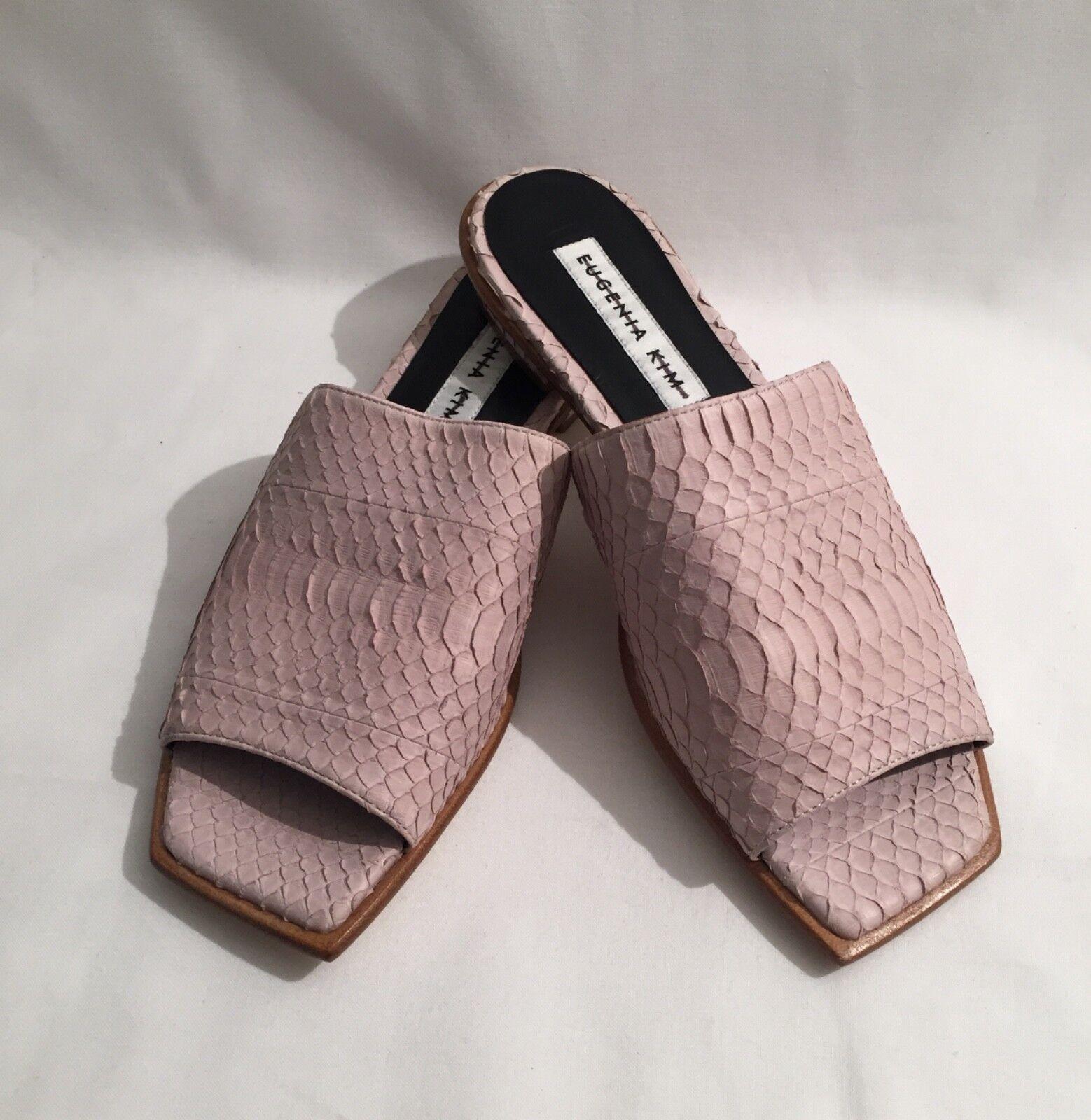 Eugenia Kim Lourdes Petal Pink Snakeskin Textured Leather Flat Slides Sandals 36