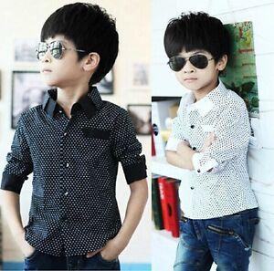 Muchachos-camisa-ninos-edad-3-8-anos-Nuevo-Formal-Fiesta-Boda-Manga-Larga-Tops