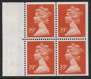 1989 19p BRIGHT ORANGE-RED BOOKLET PANE. SG X956q