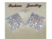 NEW (6140-14) big reem diamante earrings silver