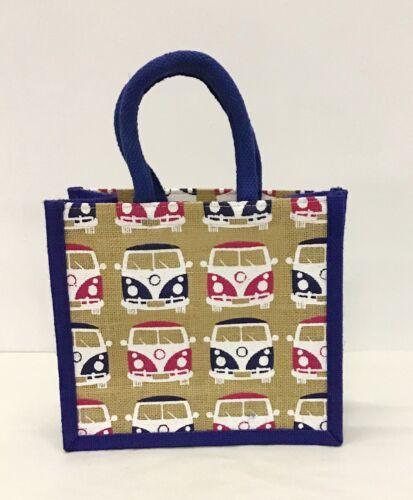 Blue Multi Camper Van Jute Hessian Small Shopping Bag