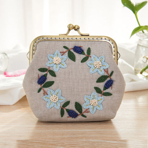 1 Set Floral Embroidery DIY Coin Purse Cross Stitch Needlework Material Package