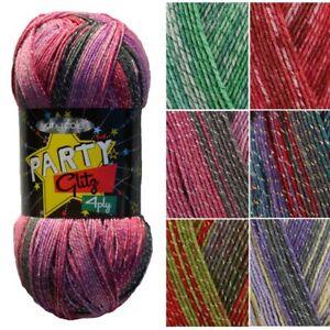King-Cole-Party-Glitz-4ply-Sock-Knitting-Crochet-Yarn-100g-Ball