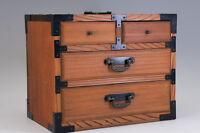 Japan KOTANSU YAKISUGI Cedar Small Chest Box Metal Parts Free Shipping 546f17