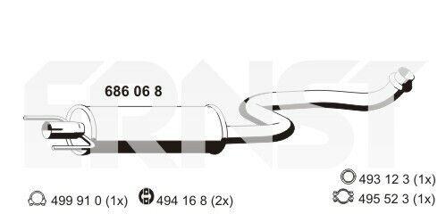 686068 ErnstMoyen Silencieux Toyota EchappementAmortisseur Échappement