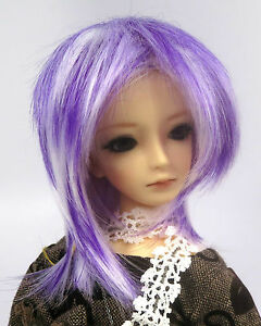 Doll-Wig-Short-Layered-White-Purple-BJD-Ball-Jointed-Size-7-8-9-10-NEW
