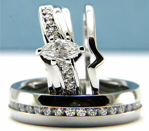 Engagement Ring Womens Mens Wedding Band Stainless Steel Bridal Set