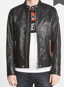 b3a368bb7 Details about $598 Retail Brand New DIESEL 'Reed' Black Buffalo Leather  Moto Jacket - Large