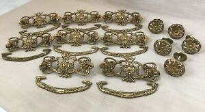 Vintage Brass Hardware for Dressers, Drawer Pulls & Knobs-Handles, Shiny Ornate