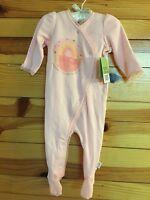 Anne Geddes Girls Pink Protect Nurture Love Footed Ruffled Romper Size 9m