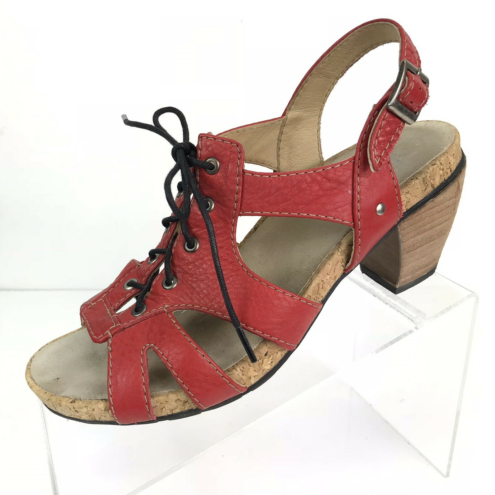 Wolky Fancy Me Lion damen rot Leather Sandals Heels schuhe schuhe schuhe US 9.5M EUR 41 LaceUp e930e1