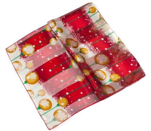 Christmas Scarf Classic Festive Poinsettia Santa Reindeer Print Gift Wrap Shawl
