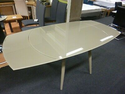 New Twist Metal Glass Extending Dining Table 120 180 Cms Furniture Village Ebay