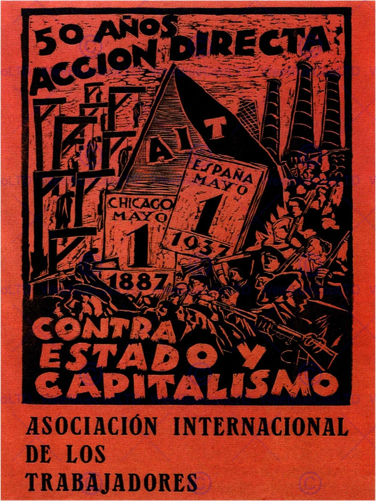 WAR PROPAGANDA SPANISH CIVIL COMMUNIST PARTY REPUBLICAN SPAIN POSTER ART 2792PY