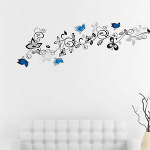 Schmetterling-Baumast-Wandtattoo-Blaue-Schmetterlinge-Wandsticker-Wandaufkleber